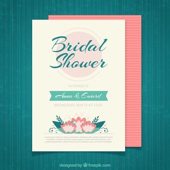 Płaski bridal shower zaproszenia z ozdobnymi kwiatami