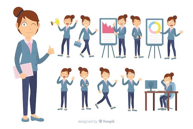 Płaski charakter firmy w różnych pozycjach