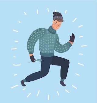 Płaski charakter włamywacz kryminalista złodziej lub rabuś