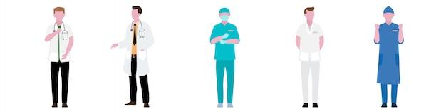 Płaski charakter zestaw pracowników personelu szpitalnego