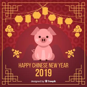 Płaski chiński nowy rok 2019 tło