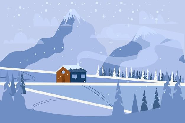 Płaski chłodny zimowy krajobraz