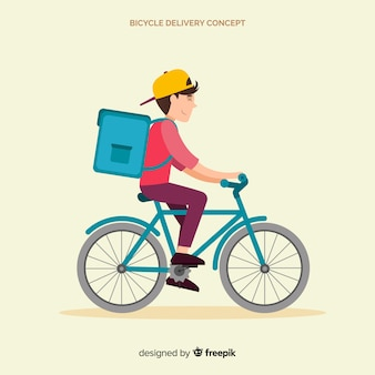 Płaski chłopiec dostawy na tle roweru