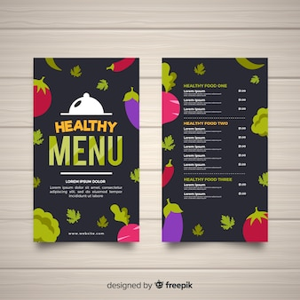Płaski ciemny zdrowy menu szablon