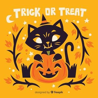 Płaski cukierek albo psikus halloween kot