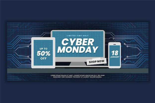 Płaski cyber poniedziałek poziomy baner sprzedaży