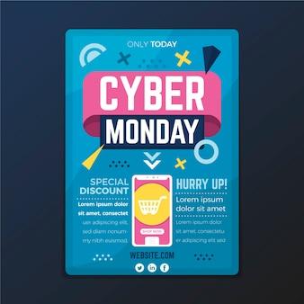 Płaski cyber poniedziałek szablon ulotki