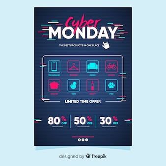 Płaski cyber szablon poniedziałek ulotki