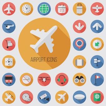 Płaski, cyfrowy zestaw ikon na lotnisku z długim efektem cienia dla sieci i urządzeń mobilnych
