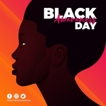 Płaski czarny dzień świadomości