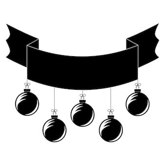 Płaski czarny na białym tle transparent wstążka z zabawkami choinkowymi