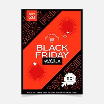 Płaski czarny piątek pionowy szablon plakatu