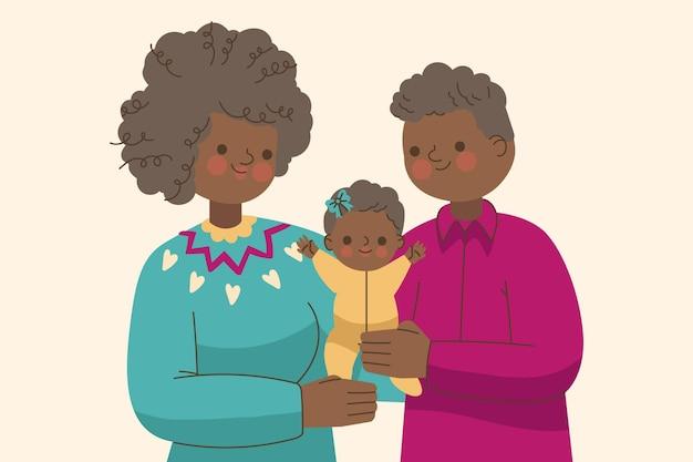 Płaski czarny rodzina z ilustracją dziecka