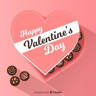Płaski czekoladowego pudełka valentine tło