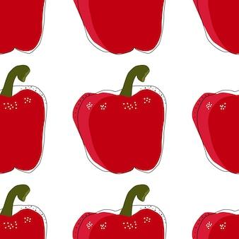 Płaski czerwona papryka dzwon bezszwowe tło wektor ilustracja. wzór do projektowania zdrowego stylu życia. styl skandynawski. tło wegetariańskie lato. sztuka kuchenna. świeży plakat.