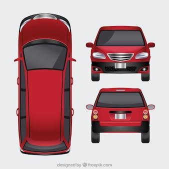 Płaski czerwony samochód w różnych widokach