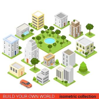 Płaski d izometryczny blok konstrukcyjny miasta dormitorium koncepcja infografika kwartału sypialnego