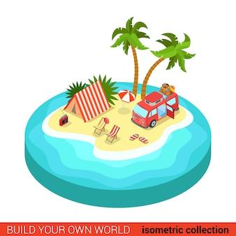Płaski d izometryczny hipis van namiotowy leżak plażowy na tropikalnej wyspie