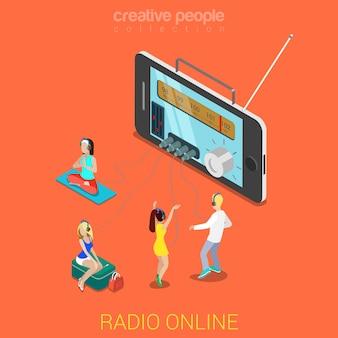 Płaski d izometryczny internetowy streaming radia internetowego słuchanie koncepcji infografiki internetowej