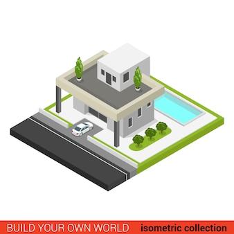 Płaski d izometryczny, kreatywny, nowoczesny, stylowy dom rodzinny, parking samochodowy, basen na podwórku