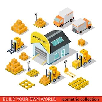Płaski d izometryczny magazyn budynku dostawy koncepcja infografiki transportu