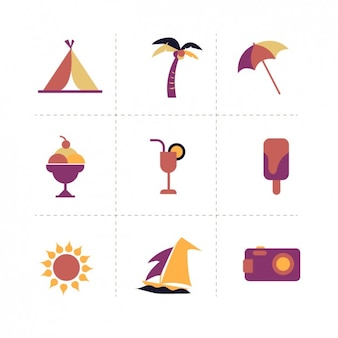 Płaski design elements plaża