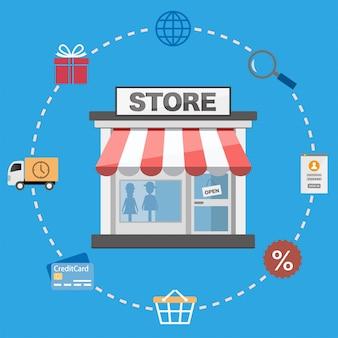 Płaski design sklep i zakupy ikony