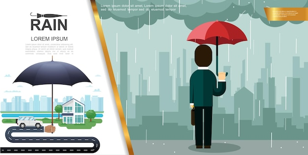 Płaski deszcz kolorowy koncepcja z mężczyzną trzymającym parasol i stojącym pod deszczem naprzeciwko ilustracji gród