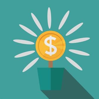 Płaski, doniczkowy kwiat dolara pieniędzy. ilustracja sukcesu pieniężnego. pojedynczo na niebiesko. nowoczesna, minimalistyczna ikona w stylowych kolorach. strona witryny sieci web i element wektora projektowania aplikacji mobilnej