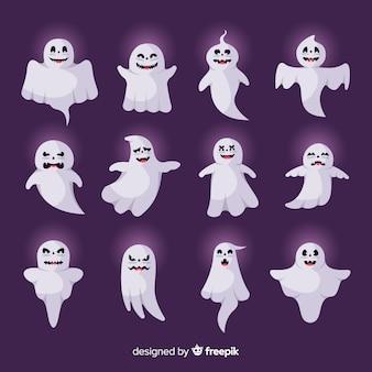 Płaski duch halloweenowy z zewnętrzną kolekcją blasku