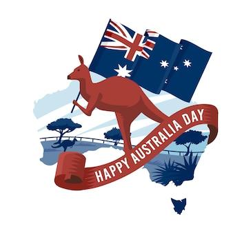 Płaski dzień australii z australijską mapą
