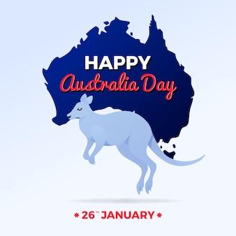 Płaski dzień australii z ilustracją kangura