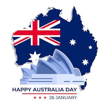 Płaski dzień australii z mapą