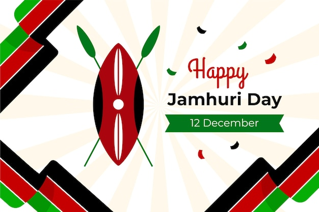Płaski dzień jamhuri z mapą kenii