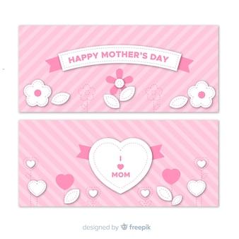 Płaski dzień matki banner