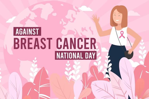 Płaski dzień międzynarodowy na tle raka piersi
