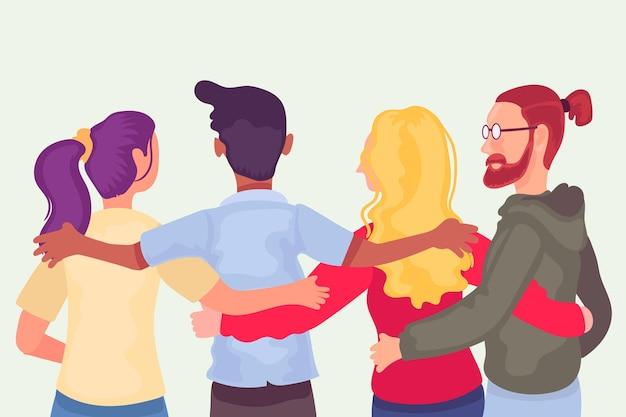 Płaski dzień młodzieży z ludźmi przytulającymi się razem