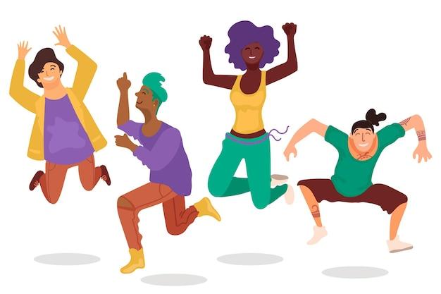 Płaski dzień młodzieży z ludźmi skaczącymi