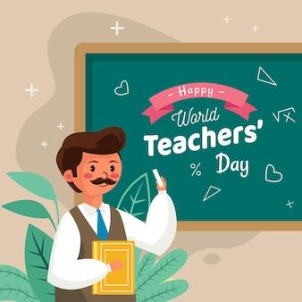 Płaski dzień nauczyciela z człowiekiem