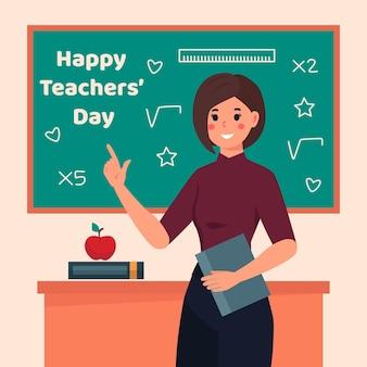Płaski dzień nauczyciela z klasą