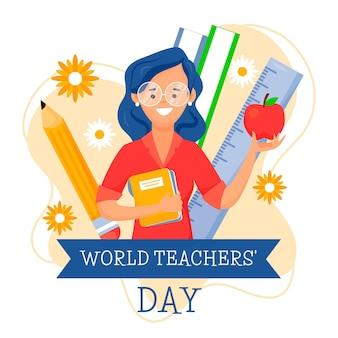 Płaski dzień nauczyciela z kobietą