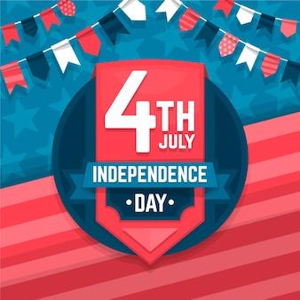 Płaski dzień niepodległości 4 lipca z girlandami