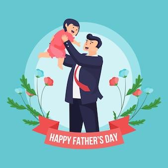 Płaski dzień ojca i dziecko w kwiatowy wzór