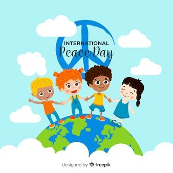 Płaski dzień pokoju z dziećmi i znak pokoju