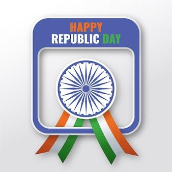 Płaski dzień republiki indii ze wstążką