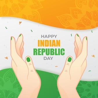 Płaski dzień republiki z flagą indii