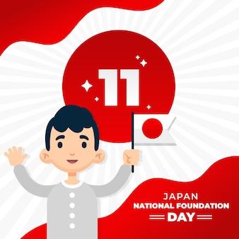 Płaski dzień założenia człowieka trzymającego flagę japonii