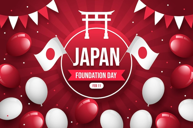 Płaski dzień założenia japonii z balonami