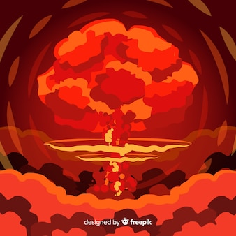 Płaski efekt bomby atomowej płaski