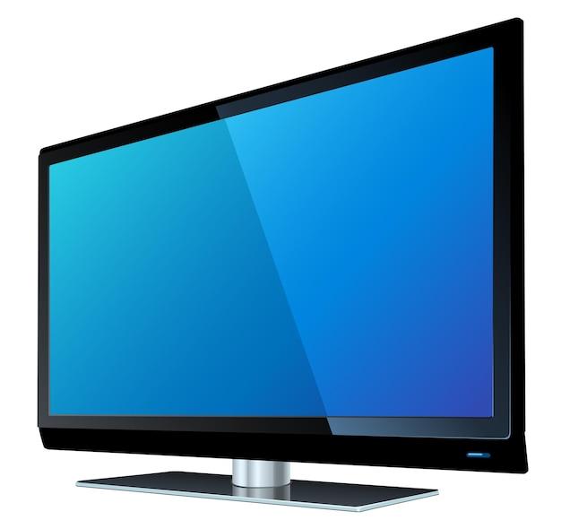 Płaski ekran tv lcd, ilustracja wektorowa realistyczne plazmy.